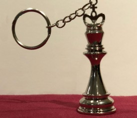 Large 3D Chess King Keychain SILVER