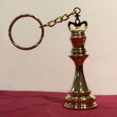Large 3D Chess King Keychain GOLD