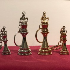 COMBO Large & Small 3D Chess King Keychains GOLD & SILVER