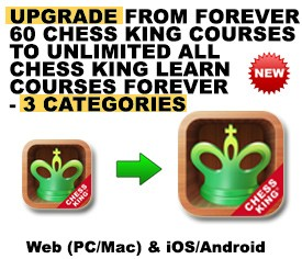 UPGRADE from 60 Chess King Courses  (1 CATEGORY) to Unlimited ALL Chess King Learn Courses (3 CATEGORIES) – FOREVER